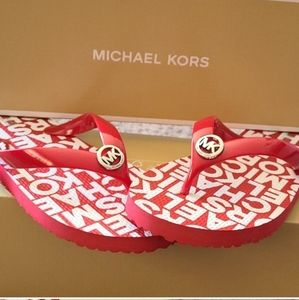 Michael Kors NWT Red and Silver Flip Flops.